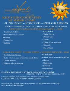 Kid's Photography Camp Flyer